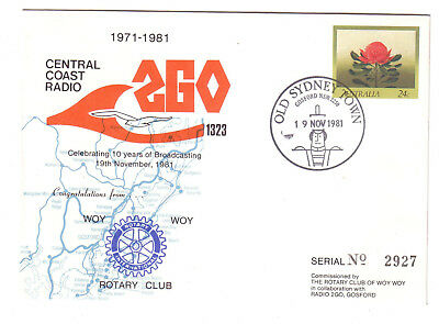 1981 Australia. Commem Cover. Woy Woy Rotary Club. Radio 2GO. Numbered. Pict.PMK