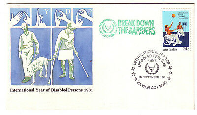 "1981 PictPMK. ""Break Down the Barriers"". Disabled Persons Year PMK. ""WODEN ACT""."