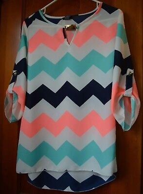 Rue 21 chevron top brand new medium white hot pink blue/green navy