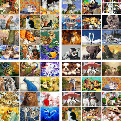 Wall On Canvas DIY Acrylic Paint By Number Kit Oil Painting Animals Dog Cat Lion