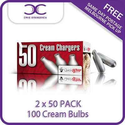 CREAM CHAEGERS 100 BULBS-50 PACK X 2 - QuickWhip WHIPPER -CAKE EMERGENCY