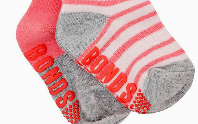Bonds Baby Socks Girl 2 Set Stay On Non Slip Sole Crew Socks 0 - 6m & 1- 2 Year