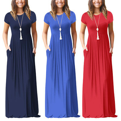 Womens Summer Loose Short Sleeve Soild Casual Long Maxi Swing Dress with Pockets