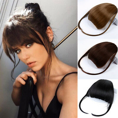 CA Stock Side Bangs Clip on Neat Bang Fringes Clip in Hair Extensions as Human E