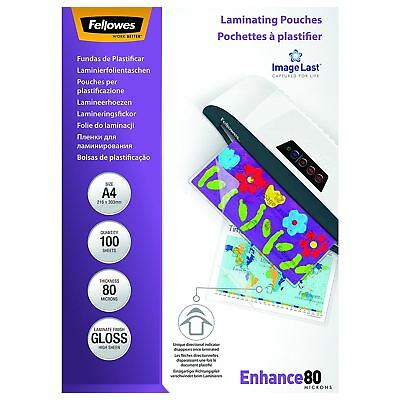 Fellowes A4 Laminating Pouch, 80 Micron - Pack of 100
