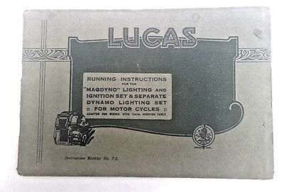 LUCAS Magdyno Type L.D. - Very Early Type - Inst. Booklet No. 75 - Pre 1920?