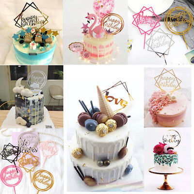 Home Love Happy Birthday Gold Cake Topper Card Acrylic Party Decors Supplies HOT