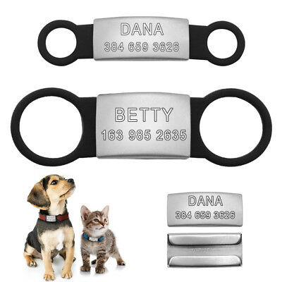Slide-On Dog Tags Engraved Stainless Steel No Noise Pet Cat ID Collar Tags S L