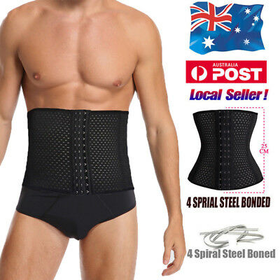 Men's Waist Trainer Body Shaper Tummy Girdle Belt Belly Fat Burner Corset Black