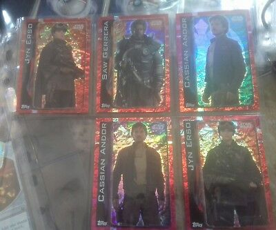 Star wars 5 x holo rougue one holo trading cards