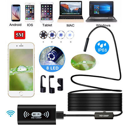 1200P WiFi USB Endoskop Kamera HD für iPhone Android PC Inspektion Handy 8mm LED
