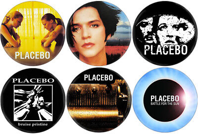 Placebo - Lot of 6 badges (pins, spille, buttons, Oasis, Blur, Sonic Youth)