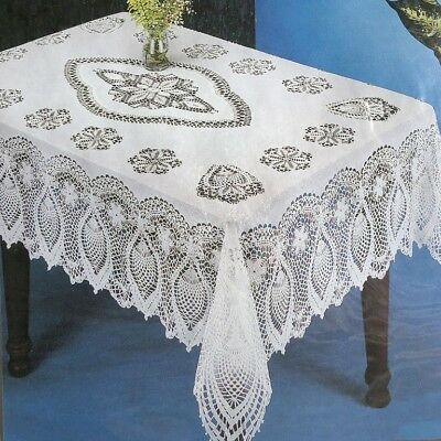 Crochet Lace Pineapple Soft VINYL Tablecloth White Vintage Look Dining 54x72""