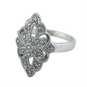 Antique Style Sterling Silver Marcasite Ring (Size M)-4.2 grams, UK Seller