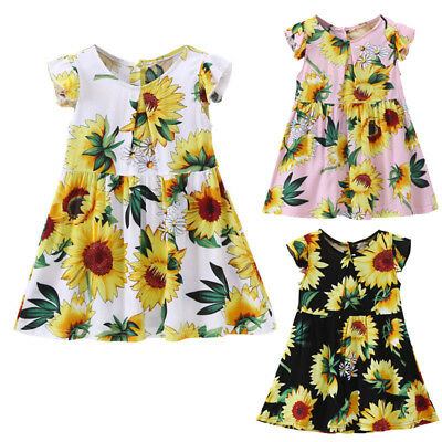 Kid Baby Girls Sunflower Floral Fly Sleeve Sundress Holiday Dress Casual Clothes