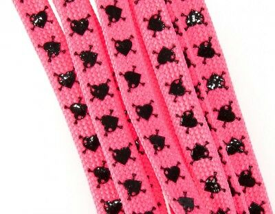 Sure Grip Slip-Not Skate Laces Heart and Crossbone Pink