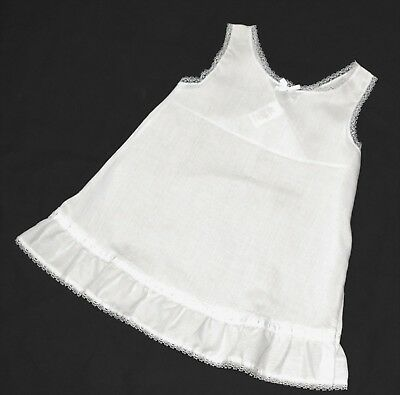 Mint Condition J.c. Collections 3T White Cotton Blend Full Slip With Lace Trim