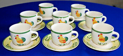 Scotts of Stow set of 8 Chicken Pattern Cups & Saucers.   (set Number 2.)