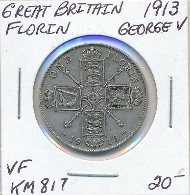 Great Britain Florin 1913  Km 817 George V - Vf