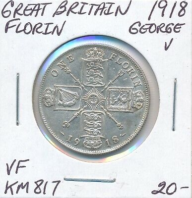 Great Britain Florin 1918  Km 817 George V - Vf