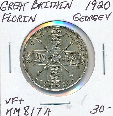 Great Britain Florin 1920  Km 817A George V - Vf+