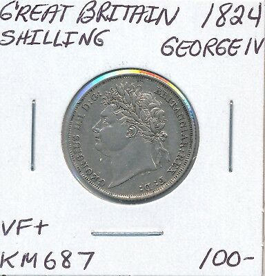 Great Britain Shilling 1824 Km 687 George Iv - Vf+