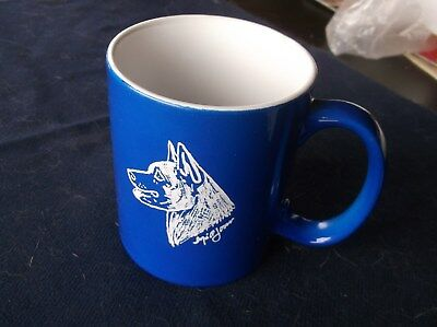 Belgian Malinois. Hand engraved original design ceramic Mug by Ingrid Jonsson