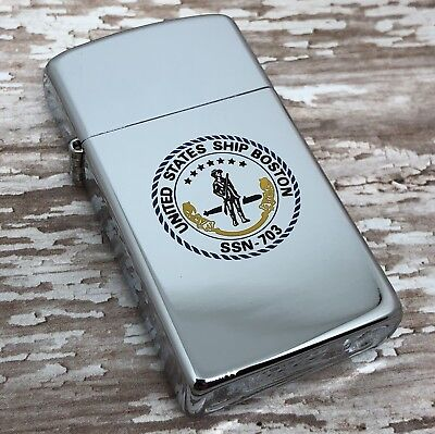 1989 Vintage Slim Zippo Lighter - United States Ship Boston SSN 703 - Submarine