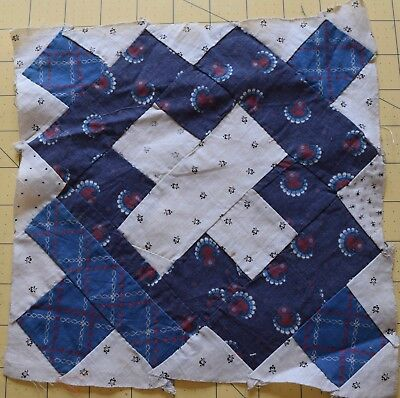 6443 1 antique 1890-1910 Chimney Sweep quilt block, blue and white!