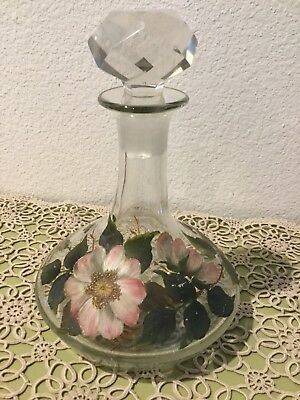 Vintage Hand Painted Shabby Chic Romantic Flowers Glass Decanter