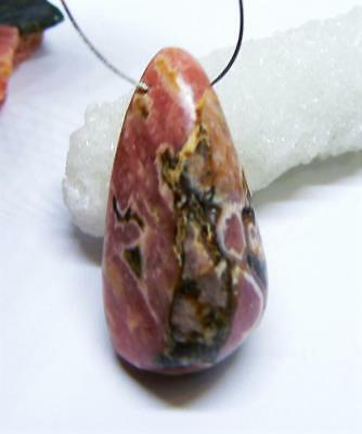 RHODOCHROSITE SIDE DRILLED PENDANT BEAD 29mm 41.85cts FABULOUS RED PINK COLOR