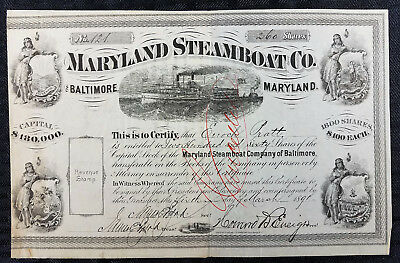 MARYLAND STEAMBOAT Co. Stock Certificate - 1891 - Signed by Enoch Pratt