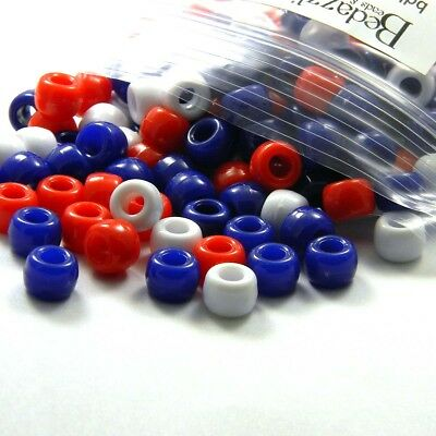 300 Opaque Red White & Blue 9mm x 6mm Plastic Acrylic USA Large Hole Pony Beads