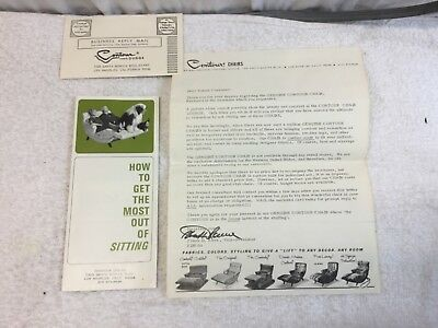 Vintage 1960's MCM Contour Chair Lounge Catalog Letter and Card Advertising
