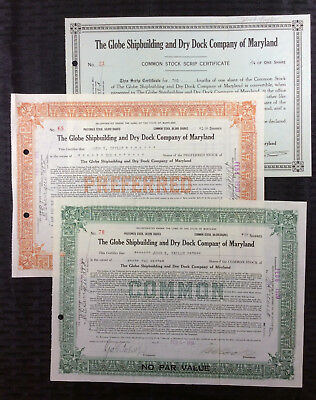 GLOBE SHIPBUILDING & DRY DOCK Co. of MD. Stock Certificates (3) - 1920