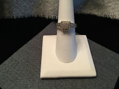 Vintage SUN 925 Sterling Silver Pave Diamond (.15ctw) Ring Size 6.5
