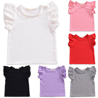 Toddler Baby Girl Basic Plain Ruffle Sleeve Cotton T Shirts Tops Tee Clothes