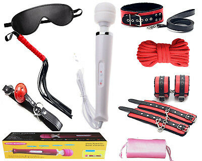 KIT set rosso nero e vibratore magic massager wand BDSM gioco bondage sadomaso