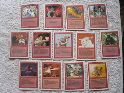 Magic: The Gathering - Revised Edition -  48 x Common Red Cards (13 Different)