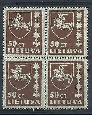 Russia Lithuania 1937 Sc# 304 Arms 50c Type2 block 4 MNH