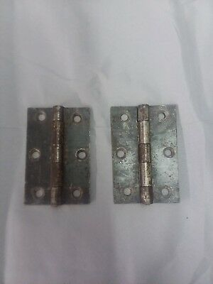 Pair Antique Vintage Steel Door Butt Hinges 2 1/2 x 4    124-18F