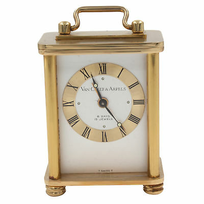 Vintage Van Cleef & Arpels 8 Days Brass Silver Dial Hand Wind Table Alarm Clock