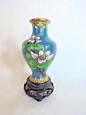Cloisonne Vase On Wooden Base Decorated With Flowers