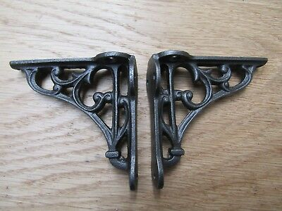 """PAIR OF 2.75"""" Ornate Victorian Cast Iron Display shelf Wall Bracket Support"""