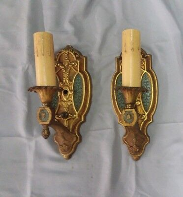 Pair Antique Decorative Vintage Brass Wall Light Sconce 125-18F