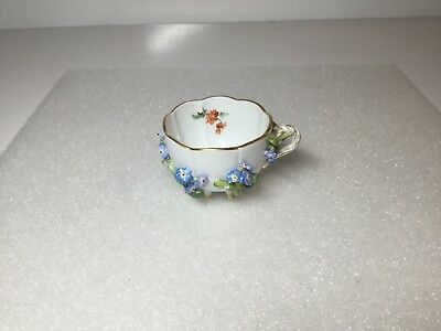 Meissen Ecrusted Applied Flowers Decorated Blue Forget Me Nots Footed Cup