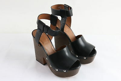 NWT Givenchy Ladies Black Leather Wedge Studded Clog Sandals Size 7