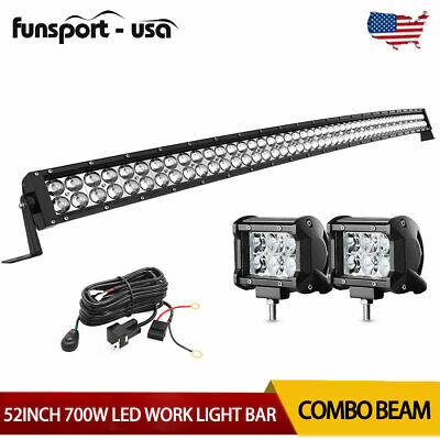 52inch LED Light Bar 700W Curved Combo+2x 4'' Pods SUV 4X4 Boat Offroad+Harness