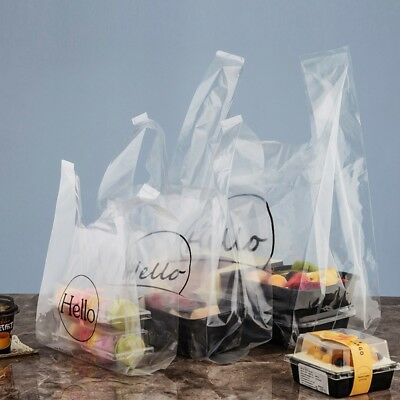 Plastic Transparent Bag Retail With Handle Bread Cake Toast Bag Bakery Use