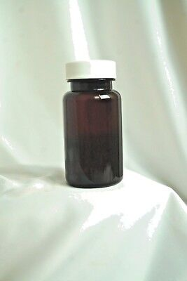 Qty. 2 Amber 2oz. PET Plastic Wide Mouth Bottle / Jar 30/400 Neck With White Lid